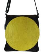 schoudertas zwart met geel leer