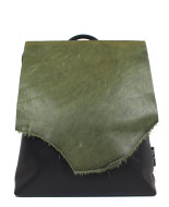 backpack with green leather