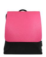 backpack echt leer, zwart met roze