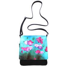 JillenRose-Messengerbag-front handbeschilderd klaproos